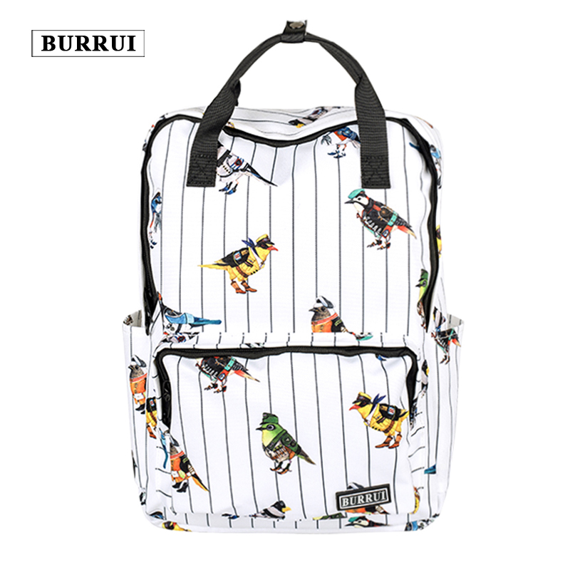 BURRUI New Waterproof Design Square Shoulder Bag Small Bird Print Backpack Small Fresh Schoolbags Unisex Maiden Totes Satchels<br>