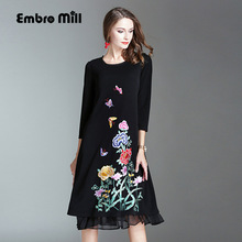 2017 Autumn dress Chinese style vintage royal embroidery plus size loose black dress fashion runway lady knitted dress M-4XL(China)