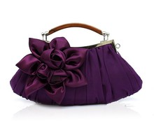 Purple Ladies' Satin Wedding Evening Bag Clutch handbag Bride Party Purse Makeup Bag Free Shipping 0005-E
