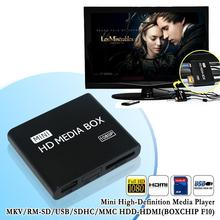 New mini HDMI Media Player 1080P Full HD TV Video multimedia player box support MKV/RM-SD/USB/SDHC/MMC HDD-HDMI(China)