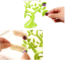 Novelty Lucky Tree Memo Sticky Note Holder Stand with Cute Multicolor Ladybug Fridge Magnetic Stickers for Home Decoration
