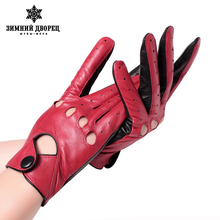 Genuine Leather mittens female glove Fashion leather gloves Punk style gloves female driving gloves Red stitching hollow design(China)