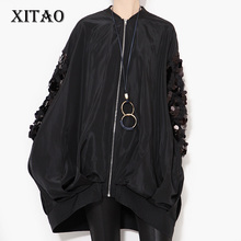 [XITAO] 2016 Autumn new street coat sleeve sequined collar long-sleeved loose plus size zipper jacket women wholesale LLB-127