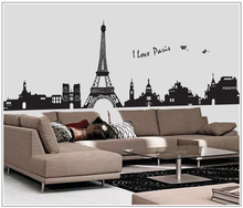 I Love Paris Living Room Decoration DIY Stickers PVC Eiffel Tower View Paper Plane Removable Stickers Wallpaper Home Decoration(China)