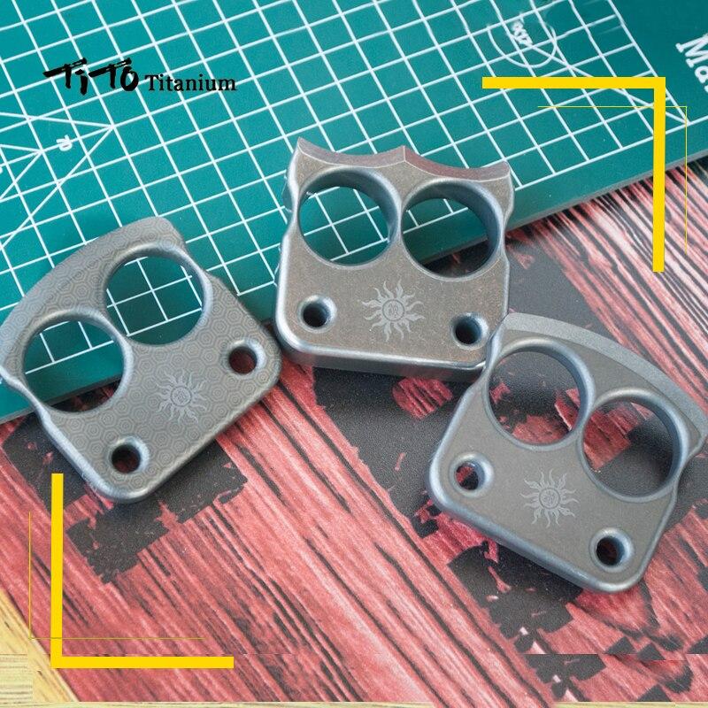 TiTo EDC titanium alloy multipurpose two holes Tools meteorite keychain outdoors tools Titanium spinner<br>
