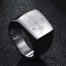 New Stainless Steel Mens Fashion Ring wholesale generous frame block Army Ring explosion