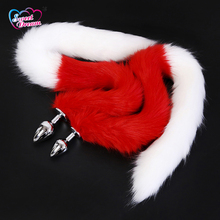 Buy Sweet Dream Adult Artificial 80cm Long Fox Tail Butt Plug Animal Tail Metal Anal Sex Toys Flirting Sex Toys Woman DW-066