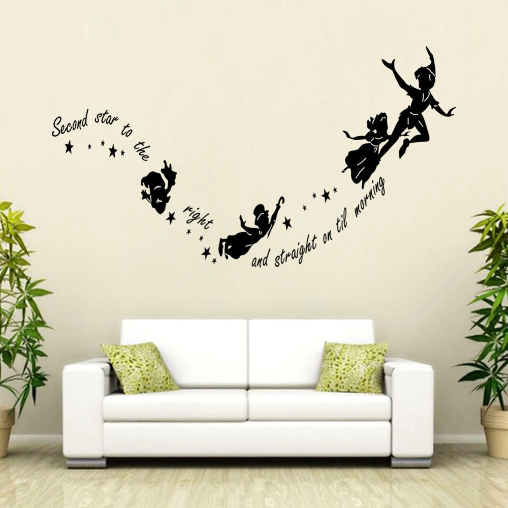 Online get cheap tinkerbell wall stickers aliexpress kids room decoration tinkerbell second star to the right peter pan wall decal wall sticker home amipublicfo Gallery