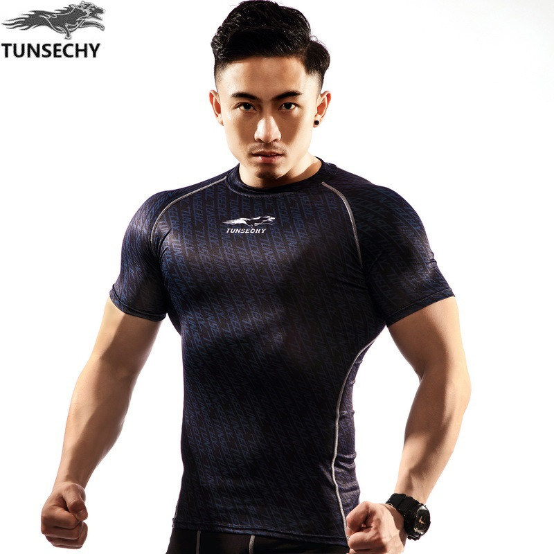 NEW Mens Compression Shirts Bodybuilding Skin Tight Short Sleeve Jerseys TUNSECHY brand Crossfit Outdoor sports bike t Shirt 228
