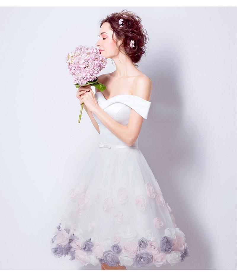 SOCCI Weekend 2017 Vintage Short Sleeves Wedding Dresses Rose boda Vestido de Noiva Formal Marriage Party Dress Casamento Gowns 7