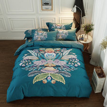 60S Egypt Cotton printing Luxury Bedding Set 4Pcs King Queen Size Boho Bed set Duvet Cover Bed Sheet(China)
