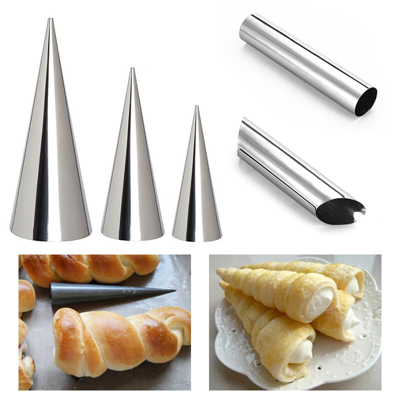 Cream Horn Molds 8.5/×2.5cm 12Pcs Stainless Steel Croissant Mold Conical Tube Cone Danish Tool DIY Baking Cream Mold Pastry Spiral Roll Horn Mold
