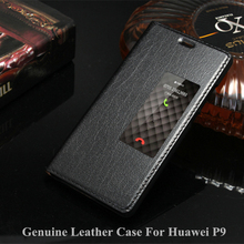 Free Temperd glass! Genuine flip Leather Case For huawei P9 Case with Window back cover phone bags luxury Brand design