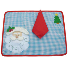 1 set Christmas Placemats With Napkin Santa Claus Plaid Placemats Eat Mat Dinner Table Decoration For Home Kitchen Table Pads