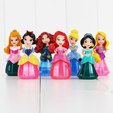2017 New 6-7cm White Snow Princess Action Figure Toys, 7pcs/lot Beautiful Princess Figure Model Kawaii Kids Toy Anime Brinquedos