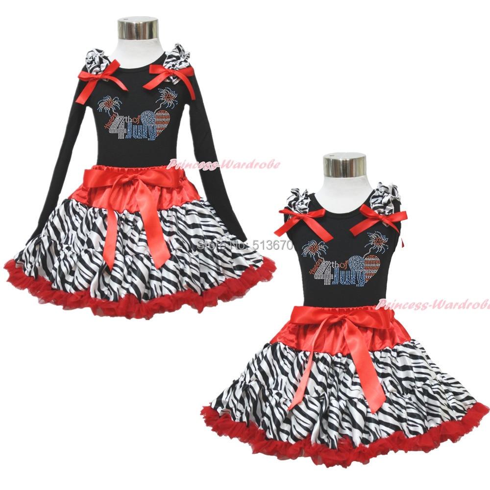 Patriotic Rhinestone Happy 4th July Black Top Red Zebra Skirt Girl Clothing 1-8Y MAPSA0584<br>