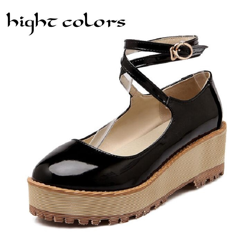 Womens Sweet Lolita Mary Jane Ankle Strap Wedge Heels Platform Shoes Plain Shoes Woman Spring Round-Toe Patent Leather Pumps<br><br>Aliexpress