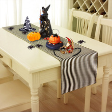 Halloween Props Decoration Accessories Horror Table Runners Black and White Stirped Tablecloth Home Decor Festive Party Supplies
