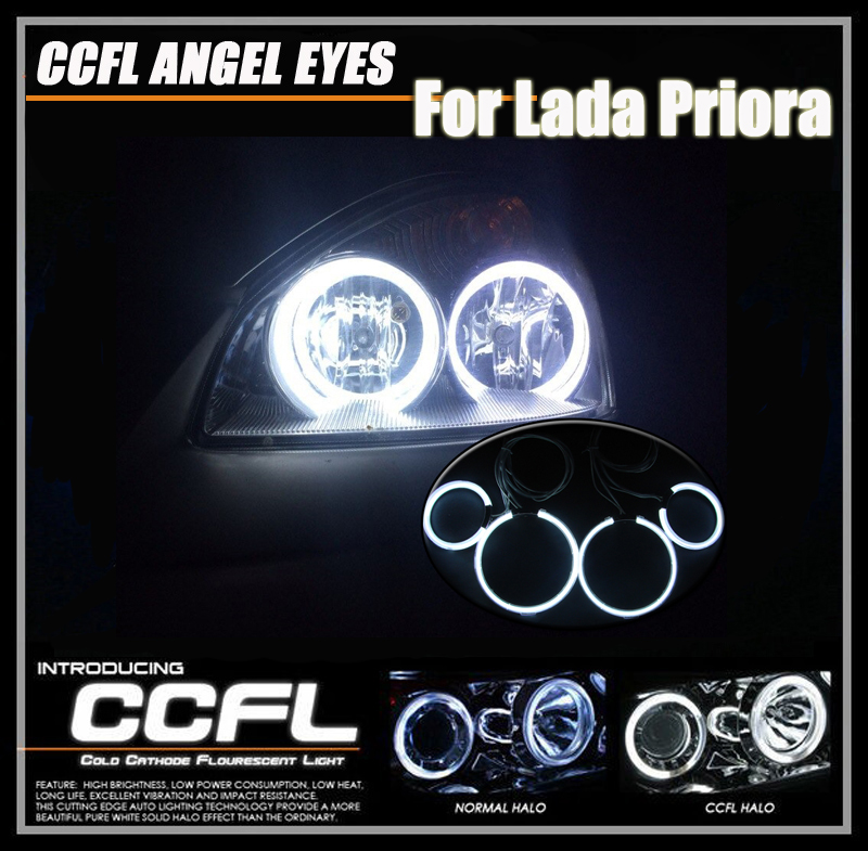 2*115+2*105mm CCFL Angel Eyes Headlights For Lada Priora 7000K Xenon White CCFL Halo Rings Kits Light Fit For Russia Lada Priora<br>