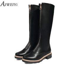 AIWEIYi New Designer Women's Square Low Heel Riding Boots Knee High Boots Punk Gothic Platform Long Zipper Shoes Woman Booties(China)