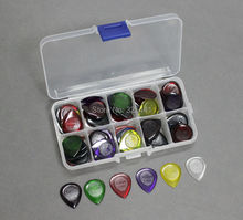 40pcs Durable Clear Small / Large Size Jazz Music Guitar Picks Pick Plectrum 1.0/2.0/3.0 mm + 10 Grid Case