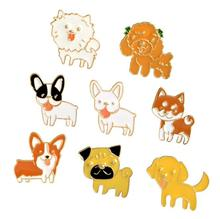 Shuangshuo Fashion Cute Animal Pet Dog Brooch Pins Metal Enamel Pins and Brooches for Women Cartoon Series Large Brooches Badge(China)