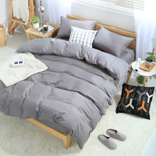 100% Cotton Solid Bedding set King size luxury Duvet cover set 16 Size High density Gray bedclothes