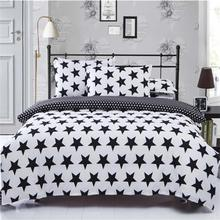 New 2/3 pcs Black White Stripe Grid star Bedding Set US Twin Queen King Size Bedclothes Bed Linen plaid Printed Duvet Cover Set