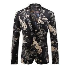 Fashion Suit for Men Pattern Flower Spring and Autumn Velveteen High Quality Formal Blazer Brand Coat Jacket Suit Male Gent Life