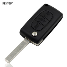 KEYYOU Replacement  Remote Entry Key Fob Shell Case 3 Buttons for Peugeot Peugeot 207 307 407 308 607 Free shipping