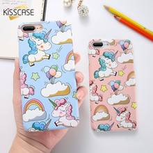 KISSCASE Cute Cartoon Unicorn Phone Case For iPhone 5s 6 7 8 Plus Case Smooth Touch Hard PC Capa Cover For iPhone X Funda Coque(China)