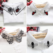 Buy All-match Detachable White Shirt Fake Collar Women Solid False Collars Elastic Band Female animals Embroidery cartoon Necklace for $2.69 in AliExpress store