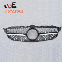 2015 2016 ABS W205 AMG Car Black Diamond Style Front Mesh Racing Grill Grille for Mercedes-Benz W205 New C-class C250 C300 C400