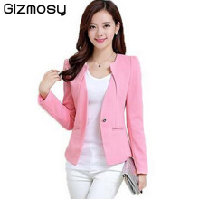 Gizmosy Spring Women Slim Blazer Coat 2017 Plus Size Casual Jacket Long Sleeve One Button Suit Lady Blazers Work Wear BN026(China)