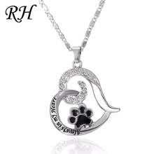 Dog Cat Necklaces Foot Paw Print Cubic Zirconia Pendant Necklaces For Women Chains Gift Accessory Cat Jewelry Pet necklace