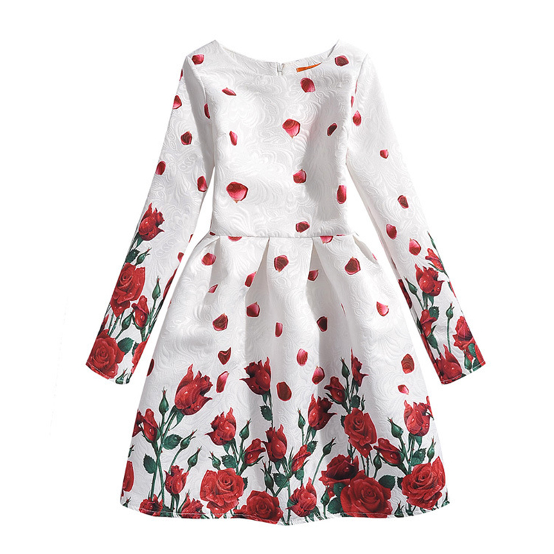 Flower Girls Dress 2016 Casual Long Sleeve Floral Print Dresses Butterfly Kids Party Frocks For 6-12 Years Blue White GD25<br><br>Aliexpress