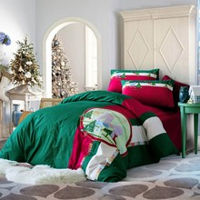 100% Cotton Green Red christmas pattern 4pcs bedding sets Duvet cover bedsheet pillowcases Embroidered Xmas Deer bed Linens set(China)