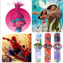2 pcs/lot Cartoon Watch Trolls Princess Moana Spiderman Hello Kitty Action Figures Watch Strap Kid Gift Toy