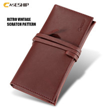 CASESHIP Genuine Leather Phone Case For iPhone 6 6S 7 Plus Samsung Galaxy S8 S8 Plus Retro Flip Wallet Cover Case For iPhone 6 7(China)