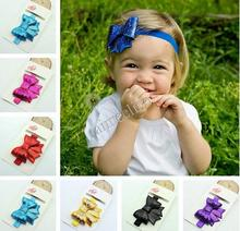 Free Shipping Sequins Bow Headband For kid Flower Elastic Headband Girls Headwear Kids Hair Accesories
