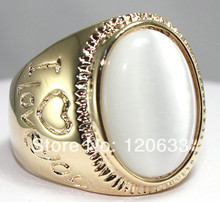 man Sale Men's New Fashion opal gem Ring rings Yellow GP rings for women sterling-silver-jewelry silver-jewelry(China)