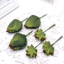 2016 12pcs Green Artificial Leaf Bouquet For Wedding Home Decoration DIY Garland Rose Leave Decorative Floristry Craft Flowers