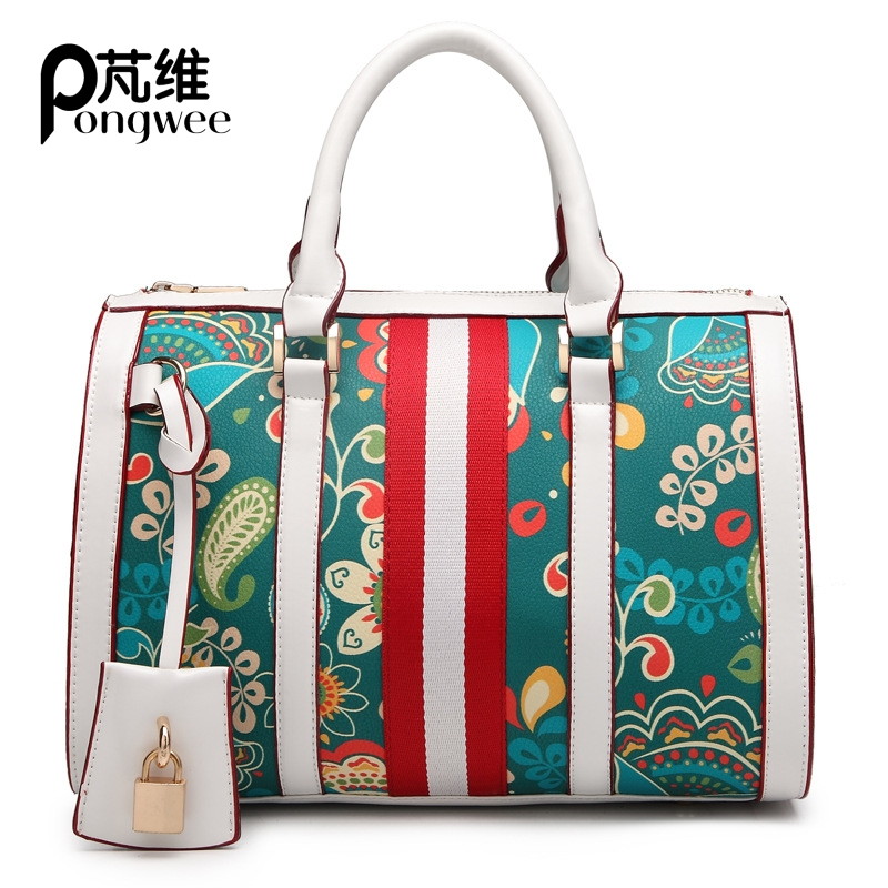 PONGWEE Luxury Patchwork pattern women pu leather handbags European Fashion style Noble Boston women bag<br>