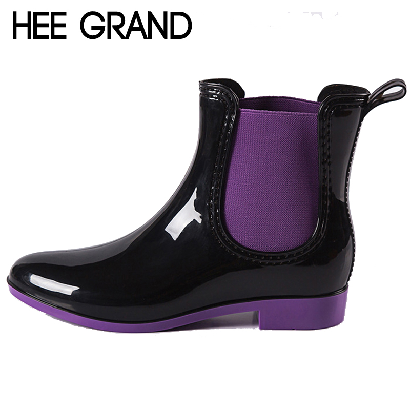 HEE GRAND 2016 Rain Boots Patchwork Women Ankle Boots Slip On Platform Rainboots Rubber Shoes Woman Plus Size 36-41 XWX3578<br><br>Aliexpress