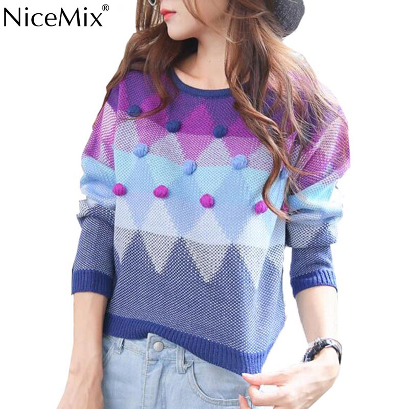 NiceMix 2019 Autumn Casual Women Sweater Hairball Patch Gradient Color Knitwear Pull Femme Sweet Pullover Sweaters