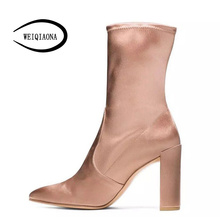 Woman 2017 autumn and winter new casual simple silk leather elastic socks boots pointed bare boots Martin boots(China)