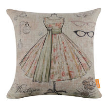 "LINKWELL 18x18"" Women Fashion Flower Dress Glass Jewellery Burlap Cushion Cover Throw Pillowcase Boutique Shop Perfume Pattern"
