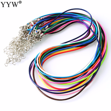 10 Pcs 1MM Mixed Colors Waxed Nylon Cord Leather Adjustable Braided Rope Bracelets&Necklace Charms Findings With Lobster Clasp(China)