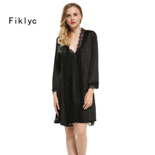 Fiklyc brand sexy lace silk robe & gown set free shipping two piece suspender sleepwear + bathing robe bridesmaid wedding wear(China)
