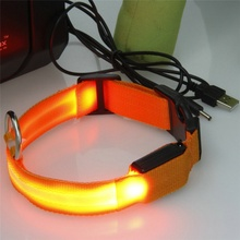 2017 NEW USB LED Collar Necklace Wholesale Orange LED Nightlight Luminous Dog Collar Nylon Camouflage LED Pet Collars S L M XL